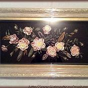 Картины и панно ручной работы. Ярмарка Мастеров - ручная работа Картина лентами Розы на черном. Handmade.