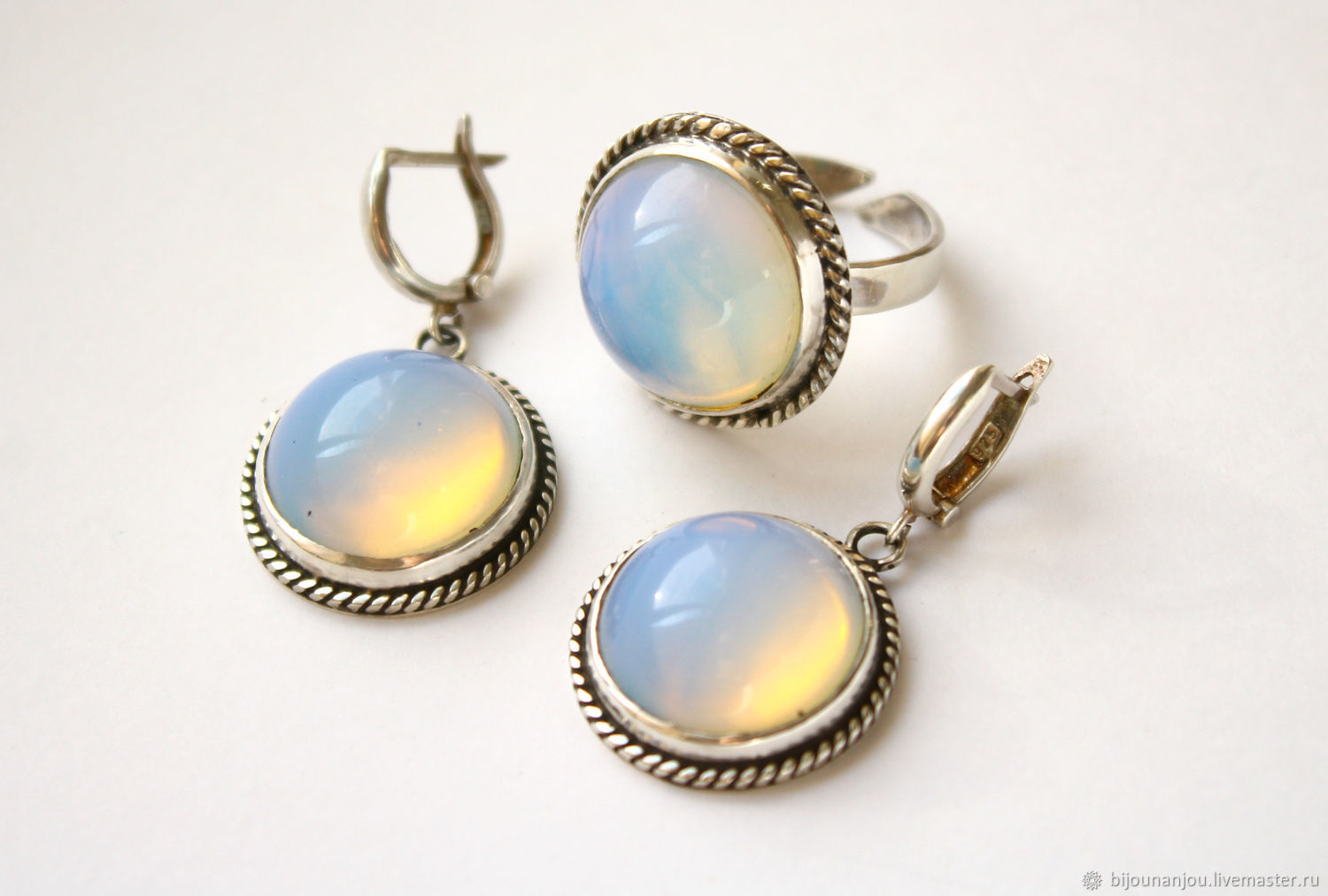 Earrings and ring with moonstone 925 silver, Jewelry Sets, Yerevan,  Фото №1