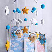 Подарки к праздникам handmade. Livemaster - original item The mobile in the crib felt - Turquoise mood. Handmade.