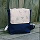 Женские сумки ручной работы. Ярмарка Мастеров - ручная работа. Купить Городской рюкзак из льна. Handmade. Тёмно-синий, Париж