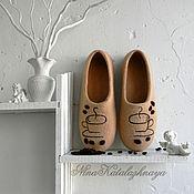 Обувь ручной работы. Ярмарка Мастеров - ручная работа Валяные тапочки Аромат кофе Тапочки для дома Шерстяные тапочки. Handmade.
