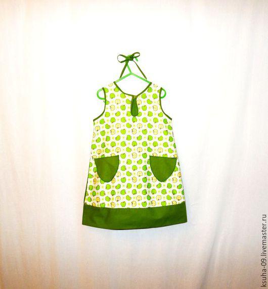 Одежда для девочек, ручной работы. Ярмарка Мастеров - ручная работа. Купить Платье из хлопка Яблочко.. Handmade. Зеленый, платье для девочки