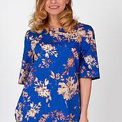 Одежда handmade. Livemaster - original item Cotton dress with floral print aquamarine.