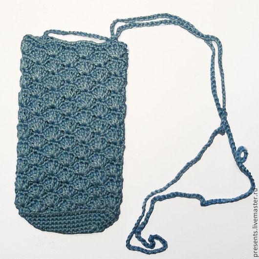 Для телефонов ручной работы. Ярмарка Мастеров - ручная работа. Купить Вязанная сумочка для сотового телефона. Handmade. Голубой
