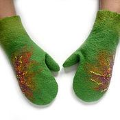 Аксессуары ручной работы. Ярмарка Мастеров - ручная работа варежки валяные , зеленые варежки, варежки подарок. Handmade.