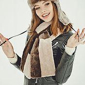 Аксессуары handmade. Livemaster - original item Beaver fur scarf in beige & other colors. Handmade.