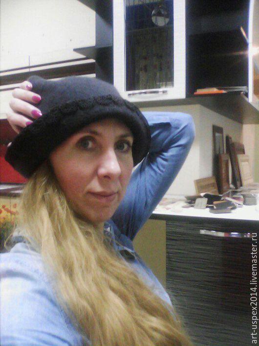 Шляпы ручной работы. Ярмарка Мастеров - ручная работа. Купить шапочка валяная. Handmade. Черный, подарки, шерсть 100%