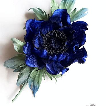 Flowers and floristry handmade. Livemaster - original item Silk flowers. Flower-brooch. Anemone