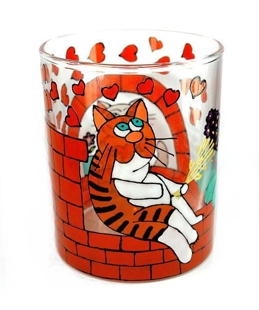 """Бокалы, стаканы ручной работы. Ярмарка Мастеров - ручная работа. Купить Стакан """"Мартовский кот"""". Handmade. Стакан, рыжий кот"""