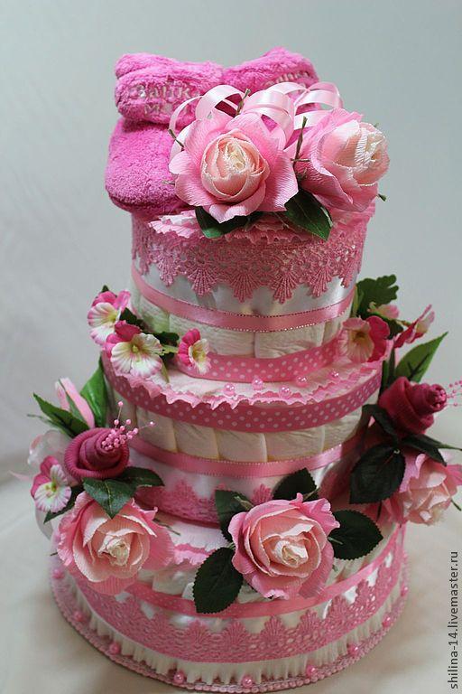 Подарки для новорожденных, ручной работы. Ярмарка Мастеров - ручная работа. Купить торт памперсный  для  девочки. Handmade. Розовый, подарок   новорожденному