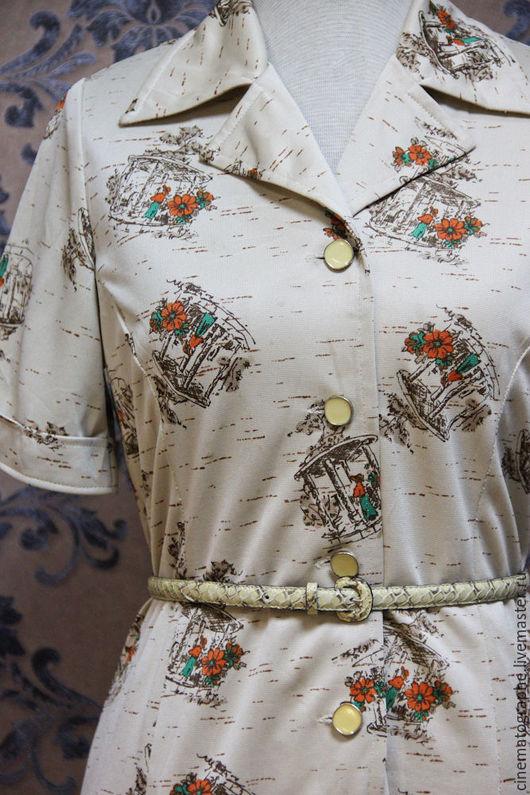 Одежда. Ярмарка Мастеров - ручная работа. Купить Платье JAPAN 70-е винтаж принт. Handmade. Бежевый, винтаж