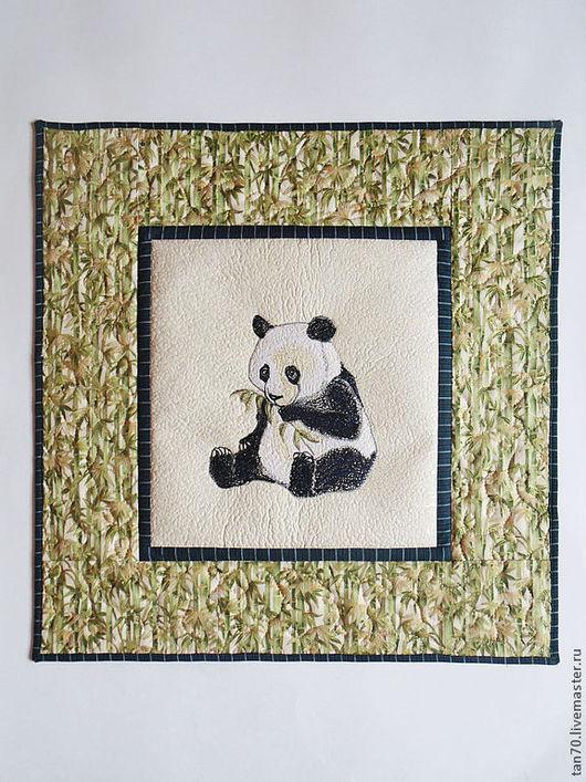 """Животные ручной работы. Ярмарка Мастеров - ручная работа. Купить Панно """"Панда"""". Handmade. Зеленый, интерьер детской, панда, смнтепон"""