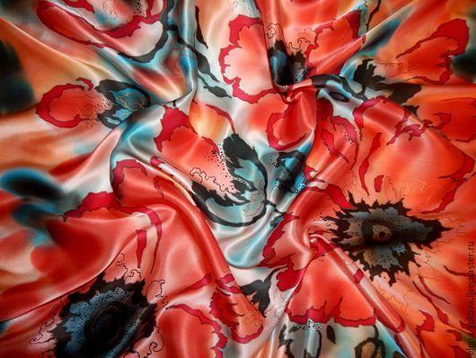 """Шали, палантины ручной работы. Ярмарка Мастеров - ручная работа. Купить Платок батик """"Маки"""". Handmade. Ярко-красный, цветочный"""