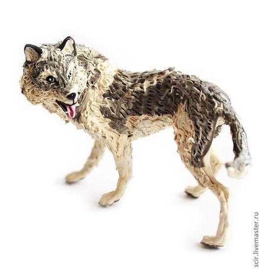 """Игрушки животные, ручной работы. Ярмарка Мастеров - ручная работа. Купить фигурка """"Волк с голубыми глазами"""". Handmade. Волк"""