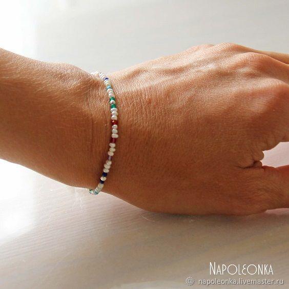 Браслет из жемчуга, натуральных камней и серебра. Авторский браслет