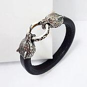 Украшения handmade. Livemaster - original item Wolves Leather bracelet, Nickel silver. Handmade.