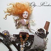 """Для дома и интерьера ручной работы. Ярмарка Мастеров - ручная работа Часы настенные """"Кофейная фея на велосипеде"""". Handmade."""