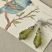 Украшения handmade. Livemaster - original item Stud Earrings Olive Drops murano lampwork. Handmade.
