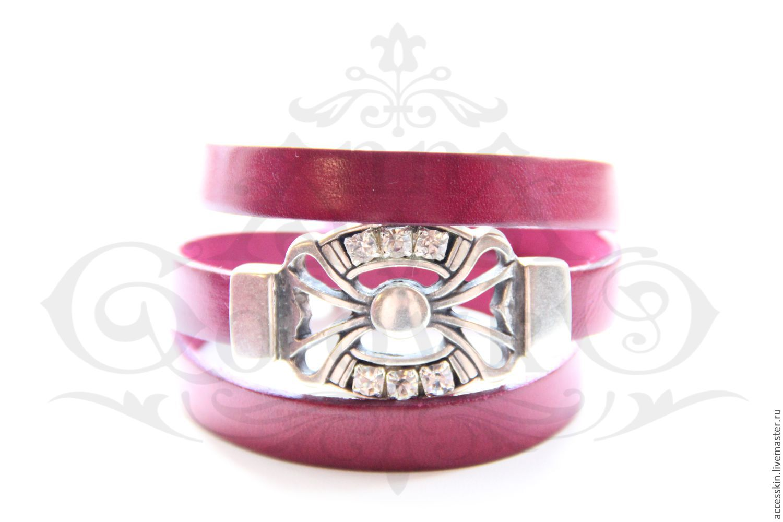 Кожаный браслет с пряжкой с кристаллами Сваровски фуксия, Браслет из бусин, Москва,  Фото №1