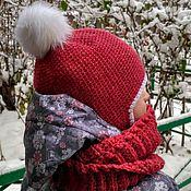 Работы для детей, ручной работы. Ярмарка Мастеров - ручная работа Зимний комплект  шапка и шарф-снуд. Handmade.