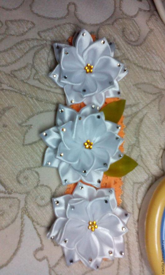 Детская бижутерия ручной работы. Ярмарка Мастеров - ручная работа. Купить Повязка на голову для малышек. Handmade. Белый, цветы из лент