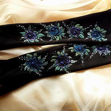 Аксессуары ручной работы. Ярмарка Мастеров - ручная работа Длинные перчатки с вышивкой. Handmade.