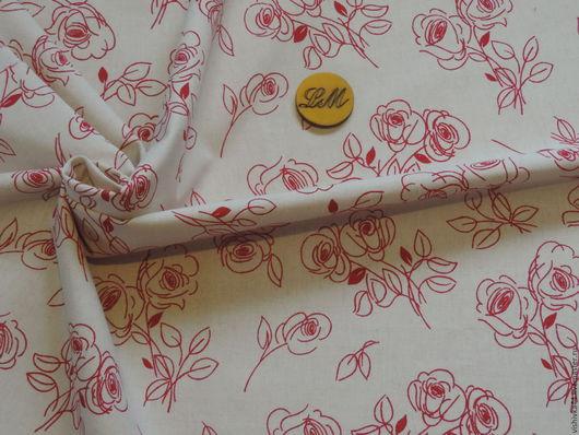 Шитье ручной работы. Ярмарка Мастеров - ручная работа. Купить Ткань лен хлопок Контурная красная роза. Handmade.