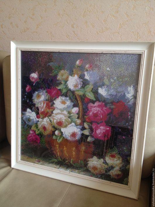 Картины цветов ручной работы. Ярмарка Мастеров - ручная работа. Купить Алмазная мозаика. Корзина с розами.. Handmade. Комбинированный
