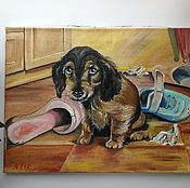 Картины и панно ручной работы. Ярмарка Мастеров - ручная работа 174. Картина маслом  Нашалил портрет собаки питомец. Handmade.