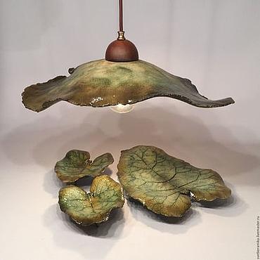 Посуда ручной работы. Ярмарка Мастеров - ручная работа Керамический набор со светильником «Лопухи». Handmade.