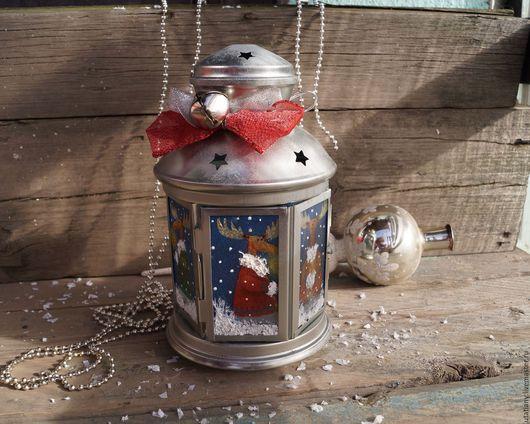"""Праздничная атрибутика ручной работы. Ярмарка Мастеров - ручная работа. Купить Фонарик для  свечи """"Лосики"""". Handmade. Белый, рождество, подарок"""