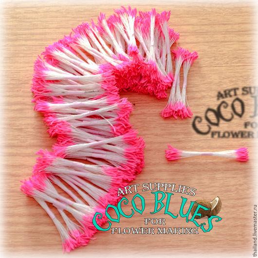 Тайские тычинки очень хорошего качества. Двусторонние. Удлиненные розовые тычинки  Длина нити около 7 см.  `Кокосов Блюз` Таиланд  (c) Coco Blues (Thailand) Co. Ltd