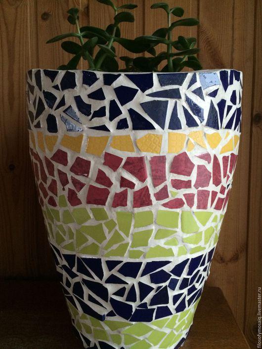 Вазы ручной работы. Ярмарка Мастеров - ручная работа. Купить Ваза декорированная керамической мозайкой, ручная работа. Handmade. Ваза