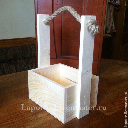 Подарочная упаковка ручной работы. Ярмарка Мастеров - ручная работа. Купить Ящик для цветов #10 деревянный, заготовка. Handmade. Желтый