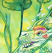 """Картины и панно ручной работы. Ярмарка Мастеров - ручная работа Батик """"Зеленый дракон"""". Handmade."""