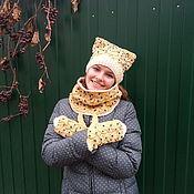 Аксессуары handmade. Livemaster - original item Kit knitting (hat-cat, Snood, gloves). Handmade.
