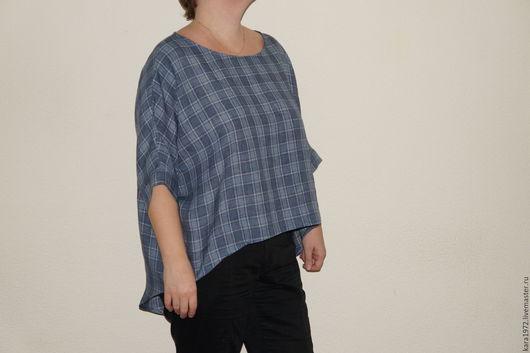 Большие размеры ручной работы. Ярмарка Мастеров - ручная работа. Купить Блузка ассиметрия лён деним. Handmade. Синий, блузка