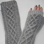 Аксессуары handmade. Livemaster - original item Mitts, sleeves 101, grey. Handmade.