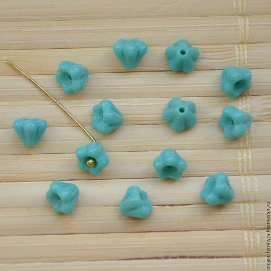 Для украшений ручной работы. Ярмарка Мастеров - ручная работа. Купить Чешские цветочки колокольчики 6 х 4 мм Бирюза. Handmade.