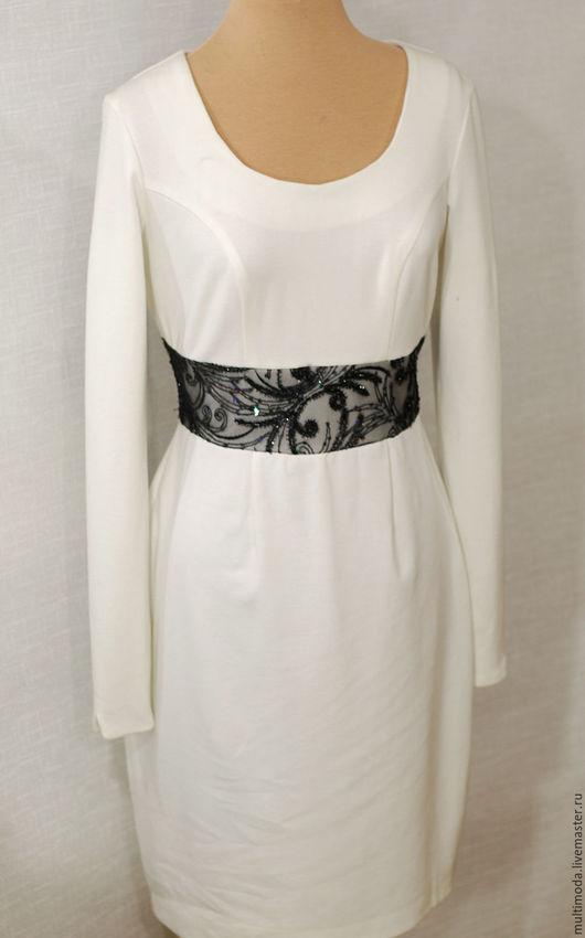 Платья ручной работы. Ярмарка Мастеров - ручная работа. Купить Платье молочное джерси с кружевным поясом. Handmade. Белый, джерси