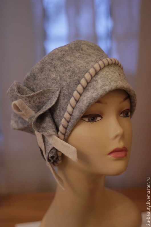 Шапки ручной работы. Ярмарка Мастеров - ручная работа. Купить Серая шапка из войлока.Шапочка для весны. Дизайнерская шапка.. Handmade.