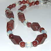 Украшения handmade. Livemaster - original item Beads from natural stones of carnelian, agate and opalite. Handmade.
