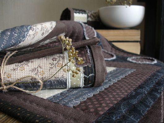 """Текстиль, ковры ручной работы. Ярмарка Мастеров - ручная работа. Купить """"Шоколад"""" лоскутные салфетки. Handmade. Коричневый, деревня отдых"""