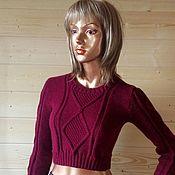 """Одежда ручной работы. Ярмарка Мастеров - ручная работа Вязаный короткий свитер """"Бордо"""". Handmade."""