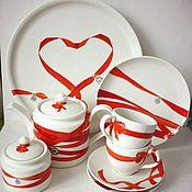 """Посуда ручной работы. Ярмарка Мастеров - ручная работа Свадебный сервиз """"Ленточки"""". Handmade."""