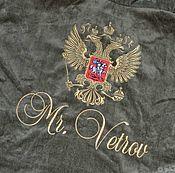 Одежда ручной работы. Ярмарка Мастеров - ручная работа Оливковый махровый именной халат. Машинная вышивка. Handmade.