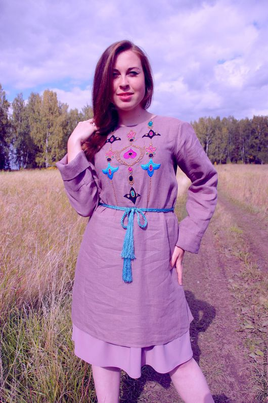 Платья ручной работы. Ярмарка Мастеров - ручная работа. Купить платье из тонкого льна с вышивкой. Handmade. Бледно-сиреневый