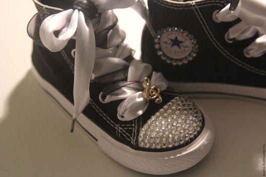 """Детская обувь ручной работы. Ярмарка Мастеров - ручная работа. Купить Кеды """"Музыка"""". Handmade. Черный, нарядная обувь"""