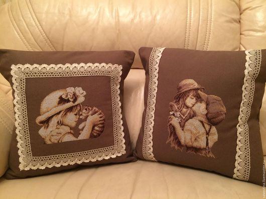 Текстиль, ковры ручной работы. Ярмарка Мастеров - ручная работа. Купить подушечка на диван. Handmade. Коричневый, подушка в подарок