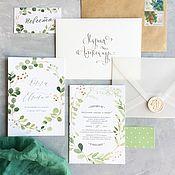 Свадебный салон ручной работы. Ярмарка Мастеров - ручная работа Акварельные свадебные зеленые приглашения Greenery + Peach. Handmade.
